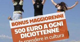 Voucher bonus da 500 euro per i neo maggiorenni