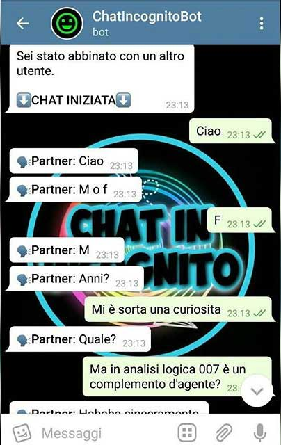 Chat random: servizio gratuito con bot telegram
