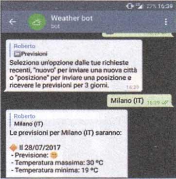Previsioni meteo: servizio gratuito con bot telegram