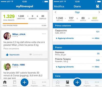 CONTA CALORIE MYFITNESS PAL: App smartphone
